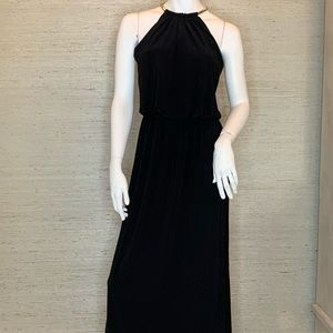 Black long dress with gold chain neckline